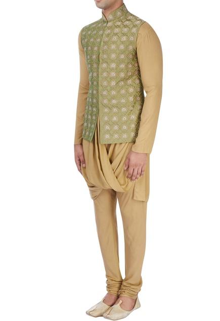 Green machine embroidered nehru jacket set