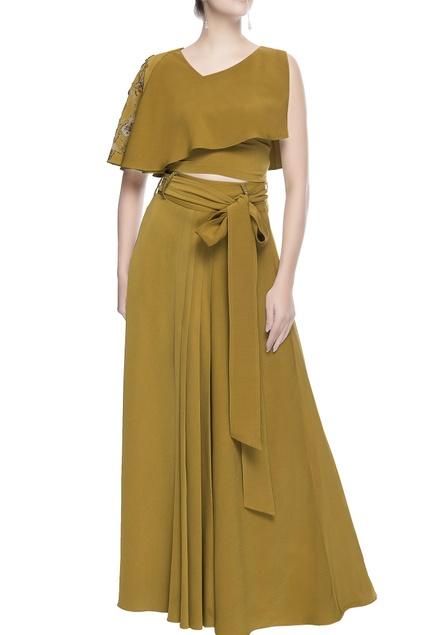 Green cape blouse & maxi skirt