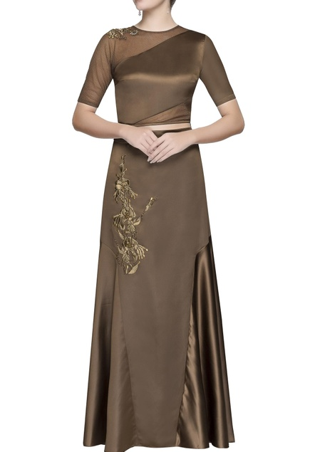 Coffee brown applique skirt set
