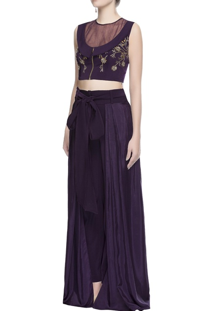 Dark purple crop top & pants