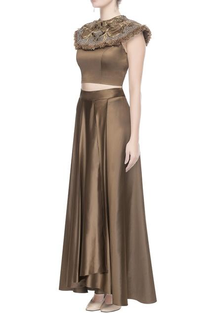 Metallic brown embroidered blouse & skirt
