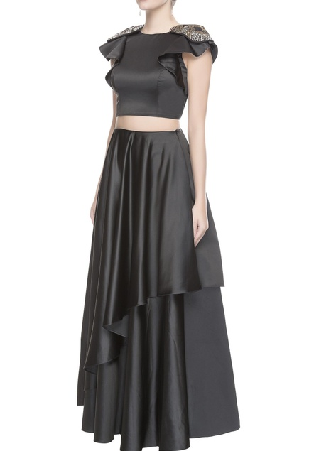 Grey embroidered top & asymmetrical skirt
