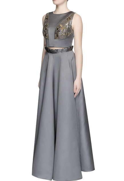 Grey embellished top and skirt