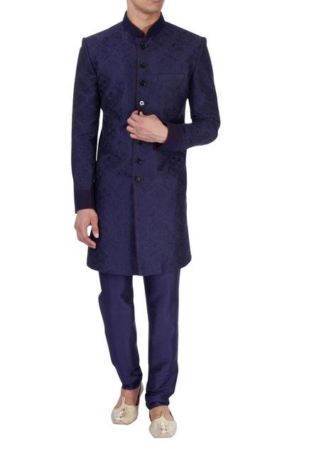 Navy blue sherwani & churidar