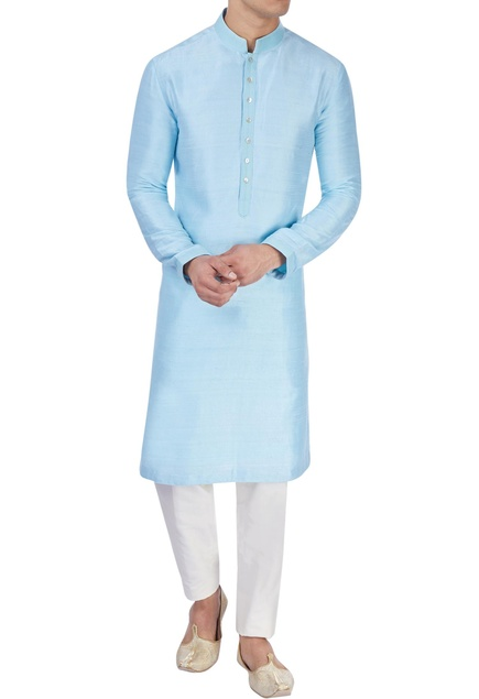 Ice blue silk kurta