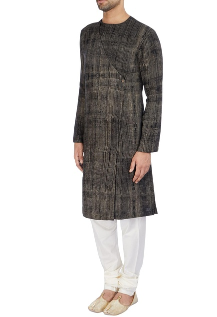 Black kurta with drape on the back