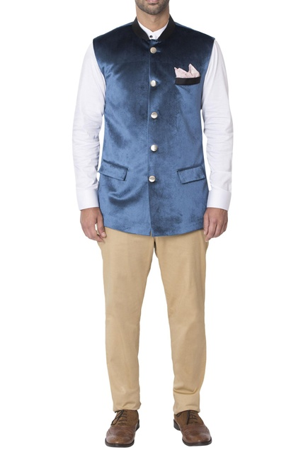 Aqua blue jacket with flap pockets