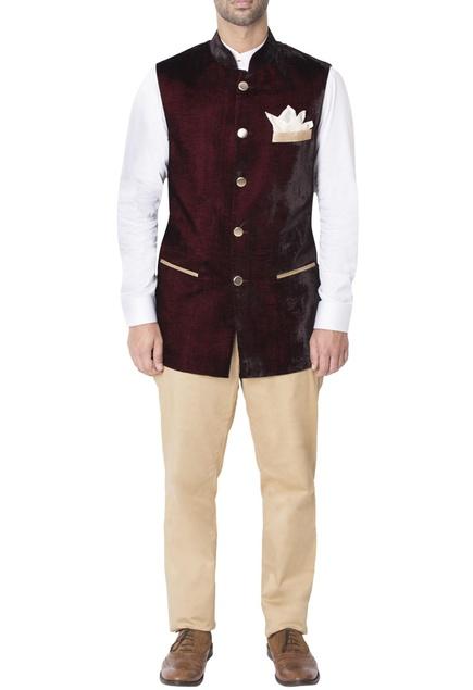 Burgundy nehru jacket with contrast pockets