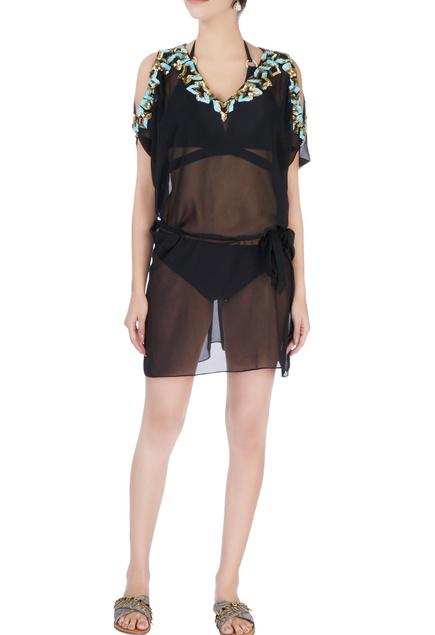 Black cold shoulder embellished kaftan