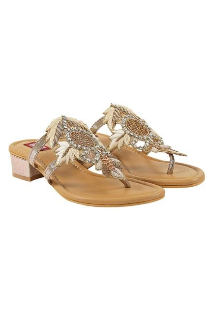 Cream block heels with metallic base