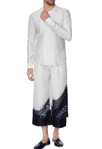 Black & white collar long sleeve chanderi shirt