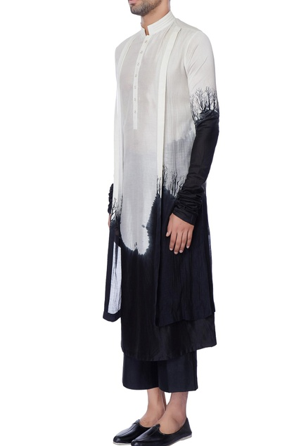 White & black double layered tie & dye chanderi kurta
