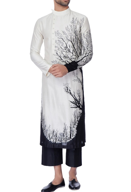 White & black nature inspired tie & dye embroidered kurta