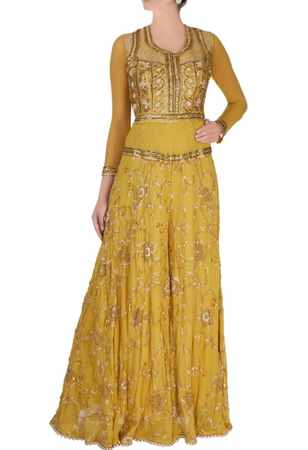 Yellow raw silk jumpsuit