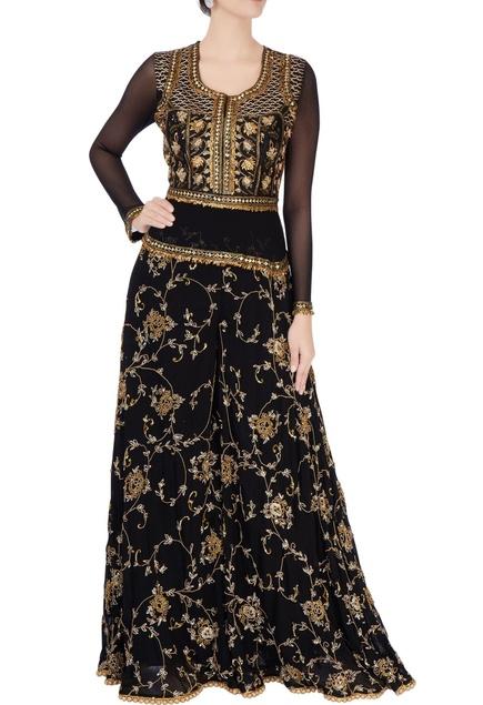 Black zari embroidered jumpsuit