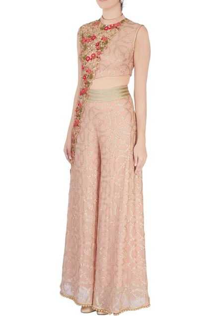 Peach sequin embellished jumpsuit