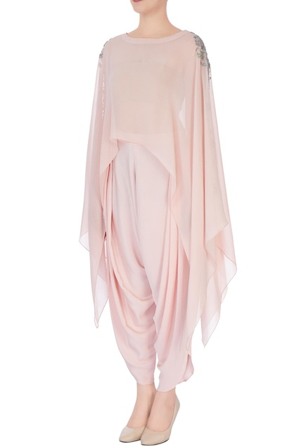 Pastel pink embroidered cape tunic