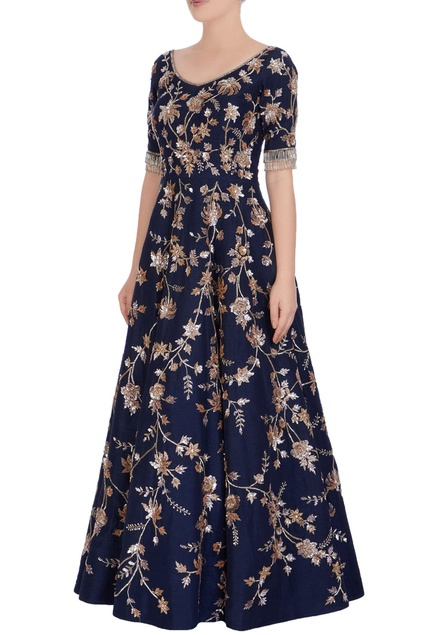 Navy blue embroidered gown