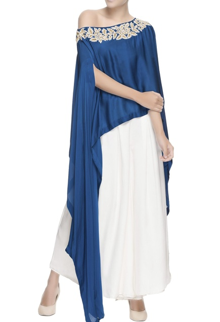 Blue pearl embroidered cape & pants