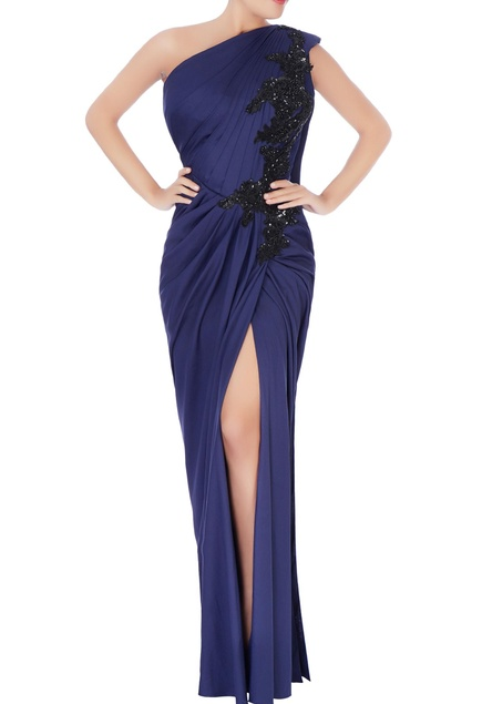 Blue draped high slit gown