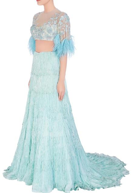 Aqua blue sequin and feather design lehenga