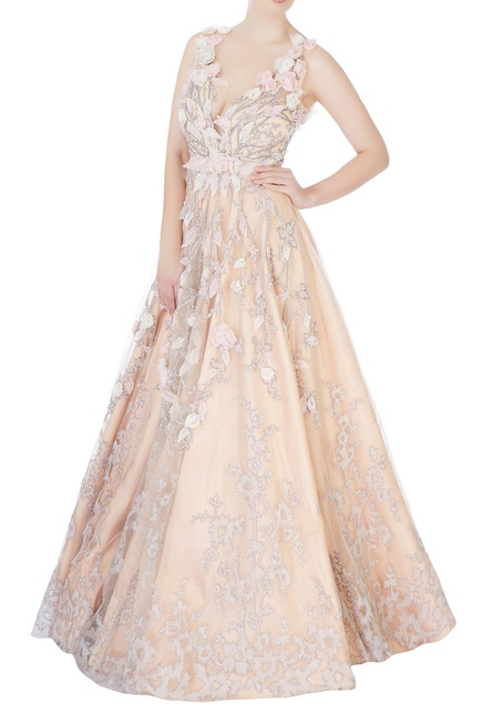 Rose pink embroidered gown
