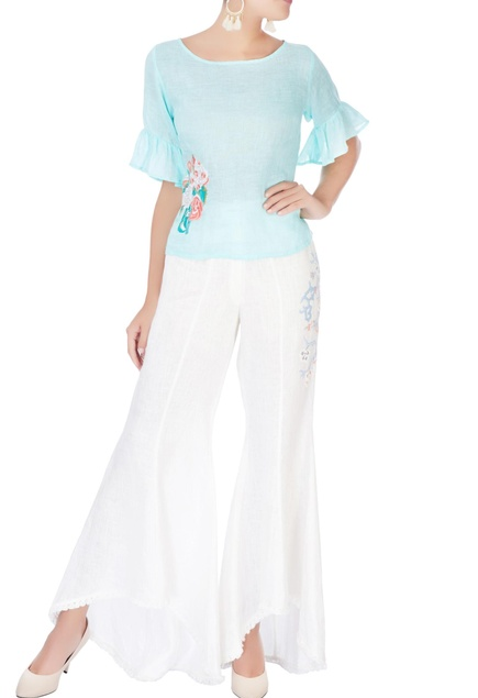 Sky blue floral embroidered blouse