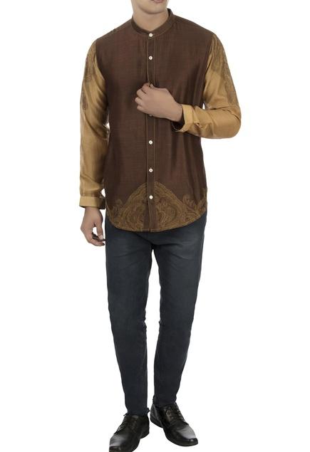 Brown & beige chanderi shirt