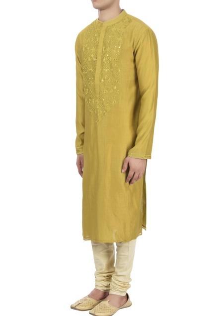 Yellow thread embroidered kurta