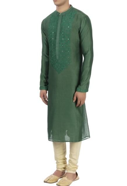 Green patra embroidered kurta