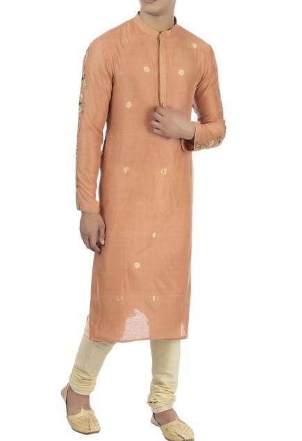 Peach maharaja motif embellished kurta