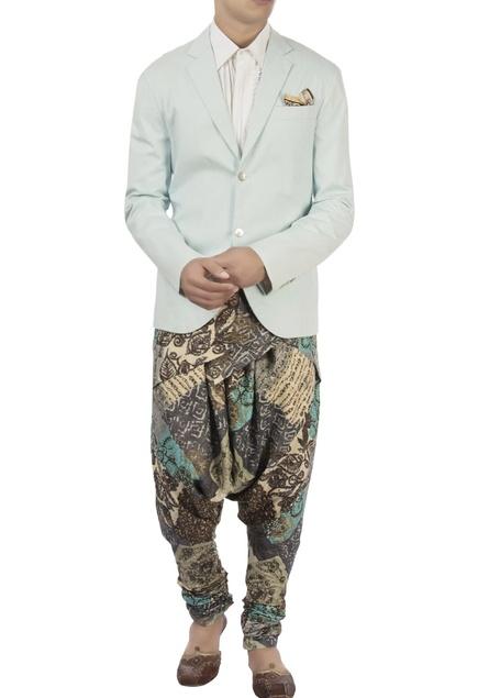 Blue blazer & printed dhoti pants