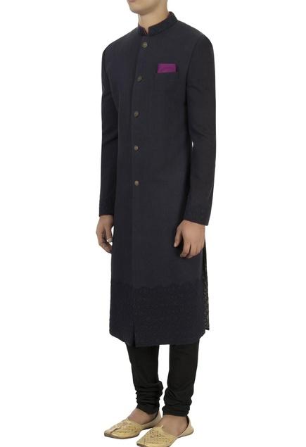Blue matka silk embroidered sherwani