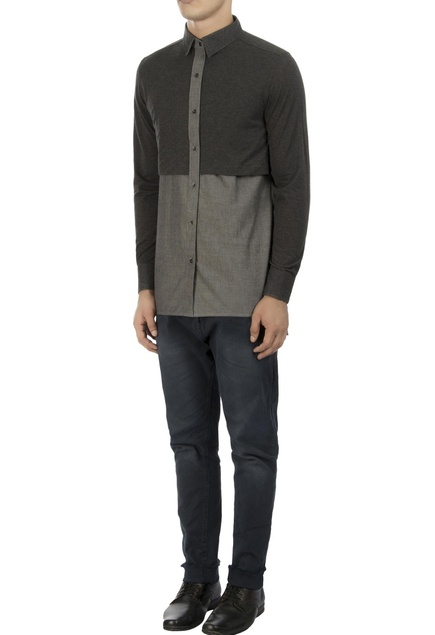 Grey color block shirt