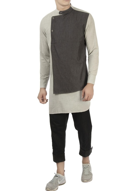 White & grey shirt with chinese collar