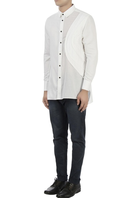 White shirt with pleated panel