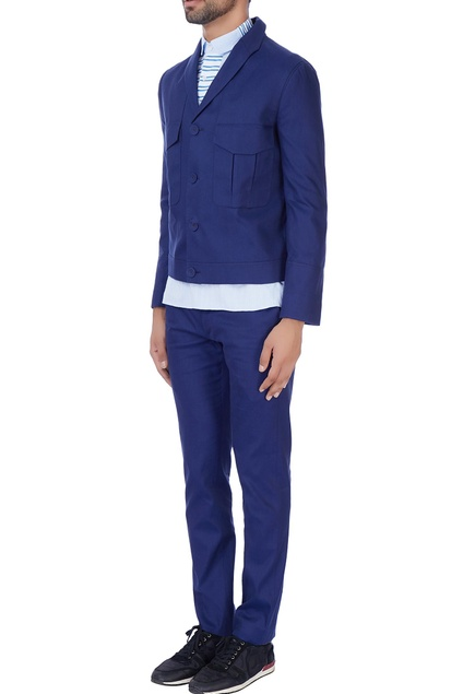 Blue cotton blazer with front pockets