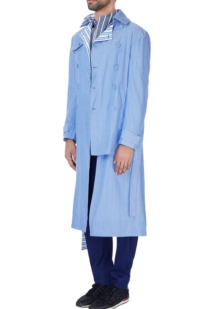 Blue cotton trench coat jacket