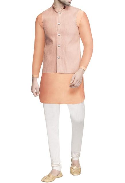 Peach pinktucked nehru jacket & kurta