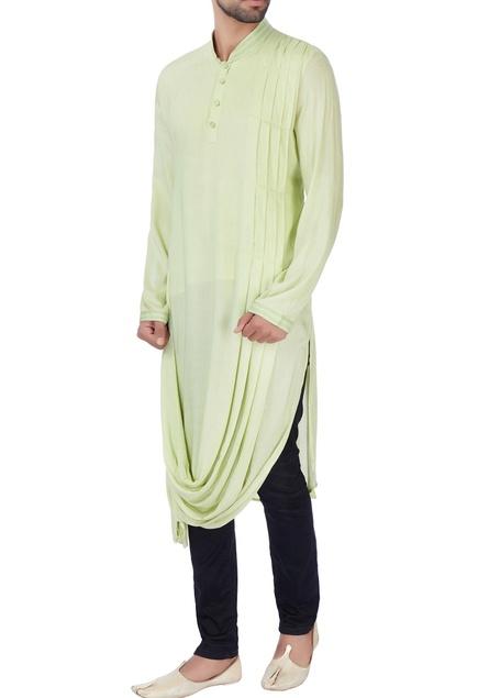 Mint green draped rayon kurta