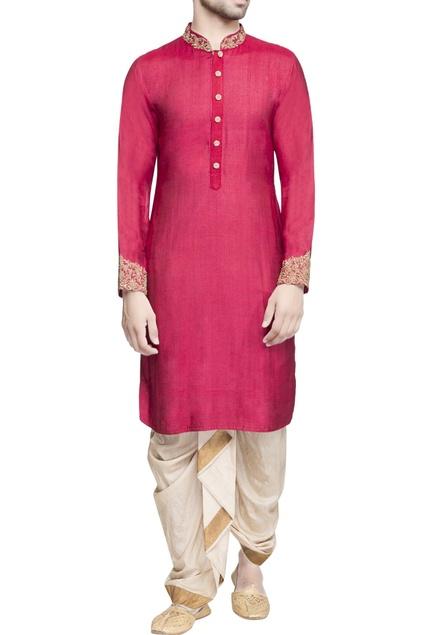 Magenta pink zari embroidered kurta