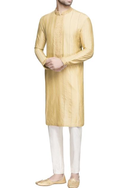 Yellow textured long kurta