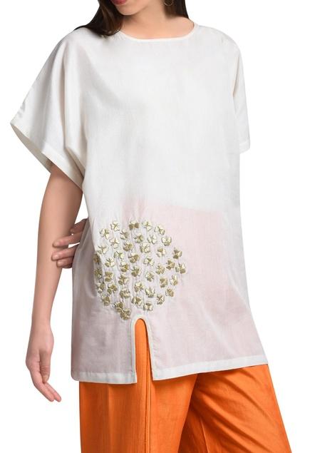 White kimono top in hand embroidery