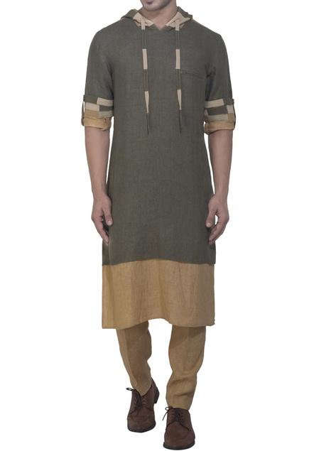 Green & brown hoodie style kurta