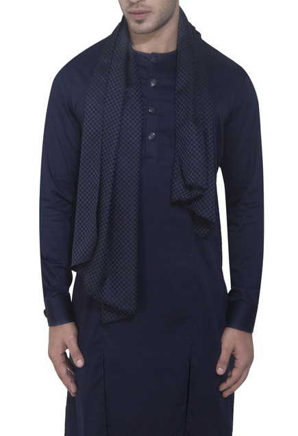 Blue kurta with attached drape
