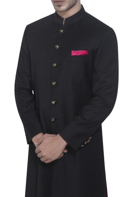 Black achkan jacket & white churidar