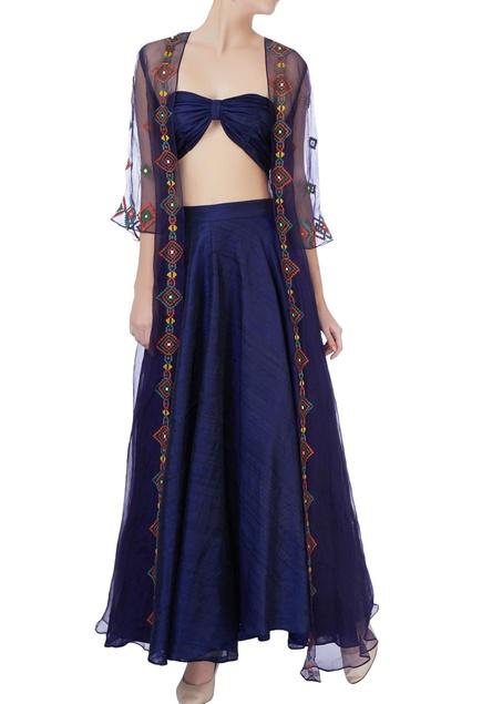 Blue sheer jacket with bralette & skirt