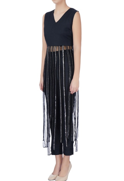Black top with sequin tassels & pants