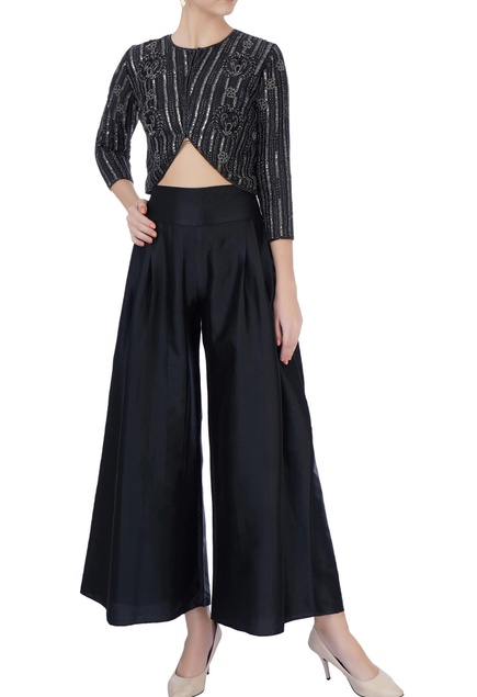 Black hand-embroidered top & palazzo pants