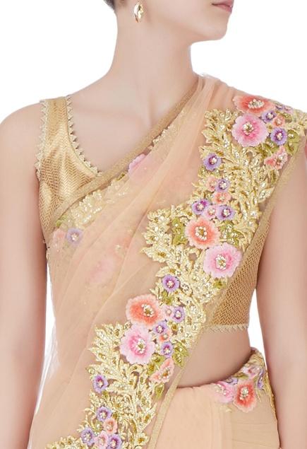 Beige floral sari with blouse-piece